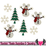 Disney MICKEY MOUSE SNOWMEN Christmas Tree & Snowflakes Licensed Buttons - Rockin Resin  - 1