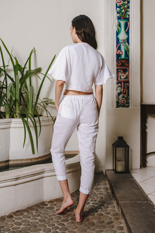 RW19 - White Pants with Elastic Band RW10012A