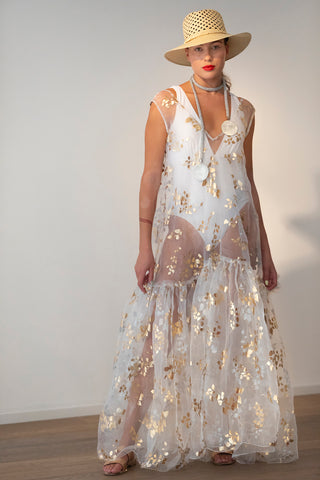 PFW19- White Organza Paper Foil Dress RW2009