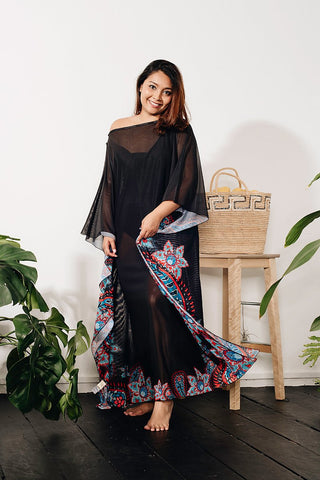 Curve - Long Kaftan In Floral Print 41007 (40% Off - U.P $350)