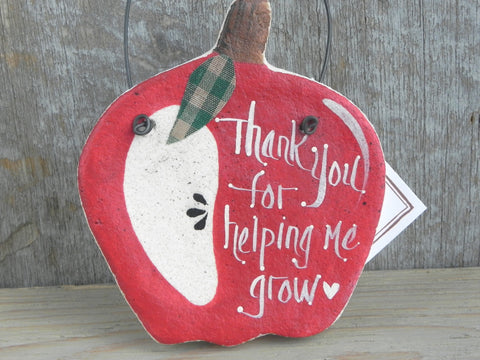 Apple Ornament Salt Dough Teacher Gift