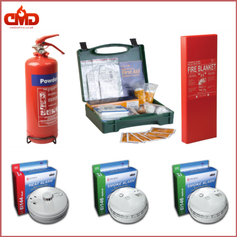 Home Safety Kit 2.0 (1Kg Powder Extinguisher, Fire Blanket and First Aid Kit for 1 to 5 people, Smoke and Heat Alarms) - CMD Online