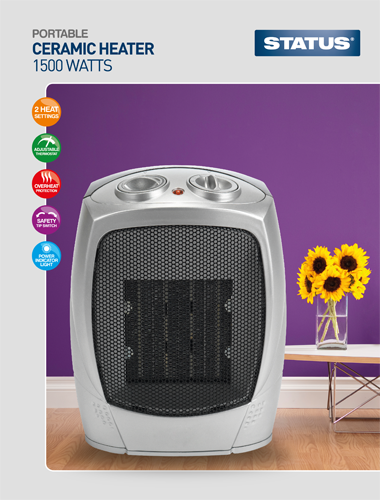Status Ceramic Heater 1500w Quieter than any other household Fan heater  Radford Vac Centre  - 1