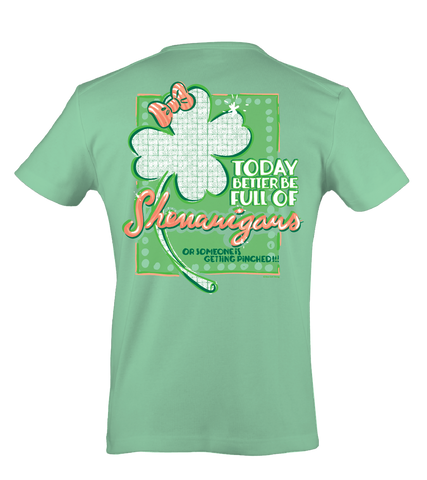 Itsa girl Thing St. Patricks Day Clover Bow Shenanigans Bright Girlie T-Shirt