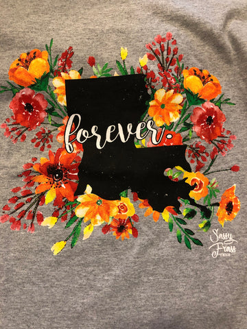 SALE Sassy Frass Forever Louisiana LA Floral State Design Girlie Bright T Shirt