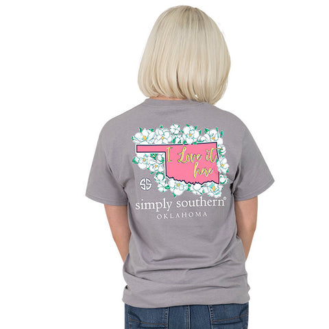 Simply Southern Oklahoma State I Love it Here Home Flowers OK T-Shirt