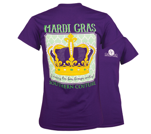 Southern Couture Preppy Mardi Gras Crown T-Shirt