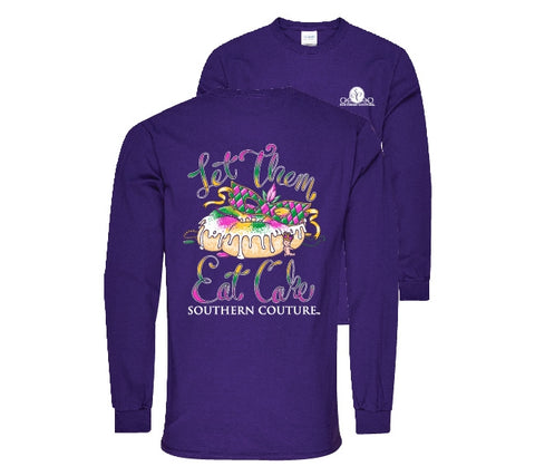 Southern Couture Preppy Let Them Eat Cake Mardi Gras Long Sleeves T-Shirt
