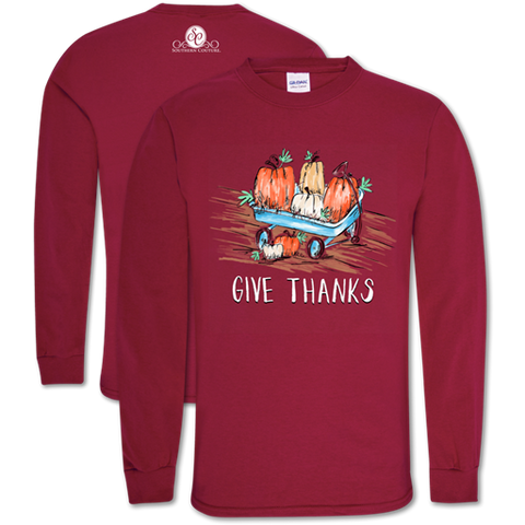 Southern Couture Preppy Give Thanks Fall Long Sleeve T-Shirt