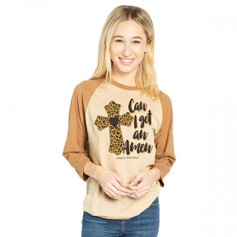 Simply Faithful By Simply Southern Amen Leopard Cross Long Sleeve T-Shirt