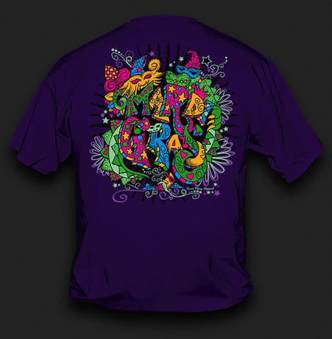 Sweet Thing Funny Mardi Gras Whimsy Fleur De Lis Mask Beads Girlie Bright T-Shirt - SimplyCuteTees