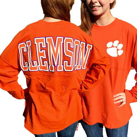 South Carolina Clemson Tigers Women's Logo Sweeper Long Sleeve Oversized Top Shirt - SimplyCuteTees
