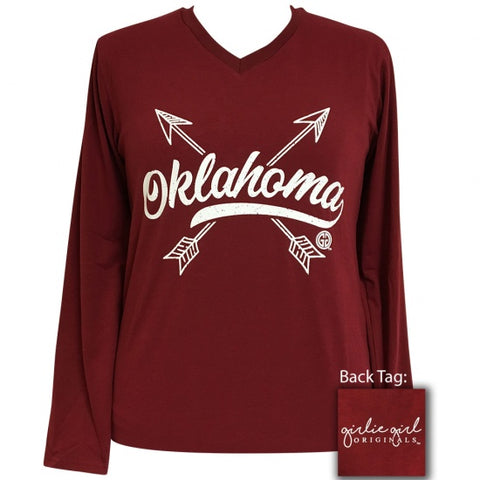 Girlie Girl Preppy Oklahoma Arrows V-Neck Long Sleeve T-Shirt