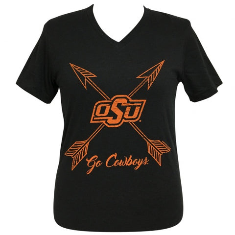 Girlie Girl Preppy Oklahoma State OSU Go Cowboys Arrows V-Neck T-Shirt