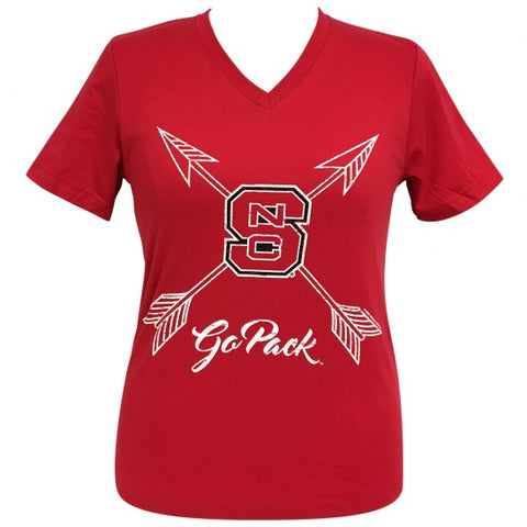 Girlie Girl Preppy NC State North Carolina Go Pack Arrows V-Neck T-Shirt