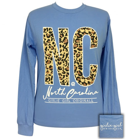Girlie Girl Preppy Leopard North Carolina Long Sleeve T-Shirt