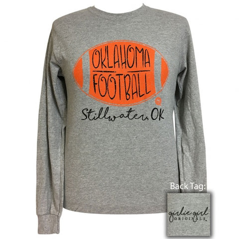 Girlie Girl Preppy Stillwater Oklahoma Football Long Sleeve T-Shirt