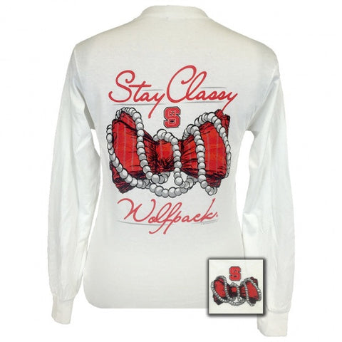 North Carolina NC State Wolfpack Stay Classy Pearls Bow Long Sleeve T-Shirt