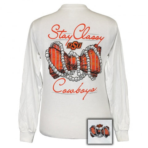 OSU Oklahoma State Cowboys Stay Classy Bow Pearls Long Sleeve T-Shirt