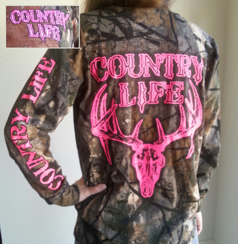 Country Life Outfitters Pink Bone Realtree Camo Deer Skull Head Hunt Long Sleeve  T-Shirt - SimplyCuteTees