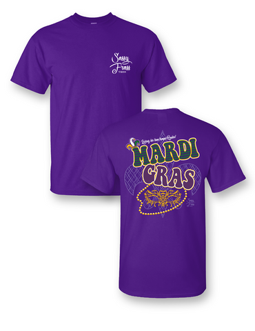 Sassy Frass Mardi Gras Mask Let the Good Times Roll Bright Girlie T Shirt