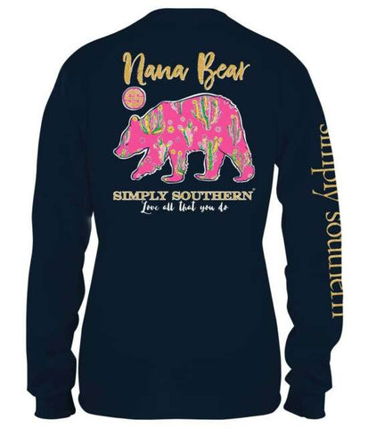 Simply Southern Preppy Nana Bear Long Sleeve T-Shirt
