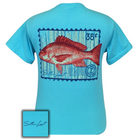 Southern Limits Red Snapper Authentic Pigment Blue Unisex Bright T-Shirt - SimplyCuteTees