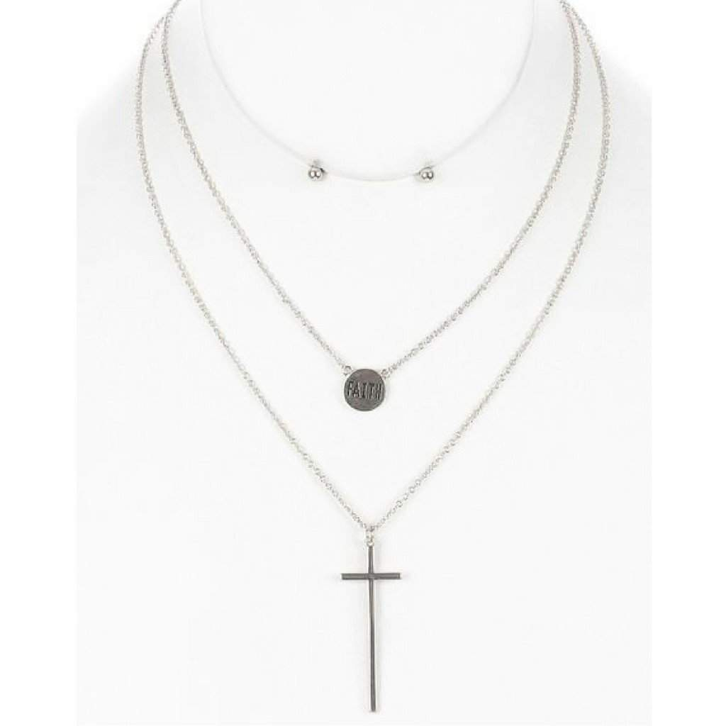 Silver Cross and Faith Charm Layered Necklace