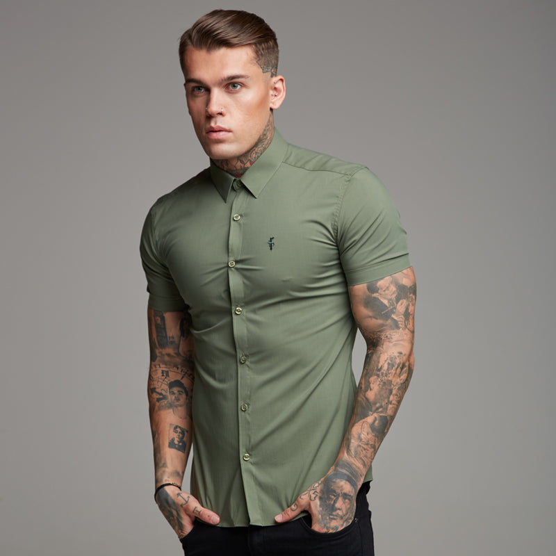Father Sons Super Slim Stretch Classic Khaki Short Sleeve - FS238 (PRE-ORDER 17TH JULY)