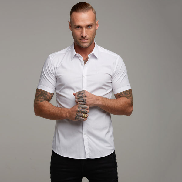 Father Sons Super Slim Stretch Classic White Short Sleeve (White Embroidery) - FS219