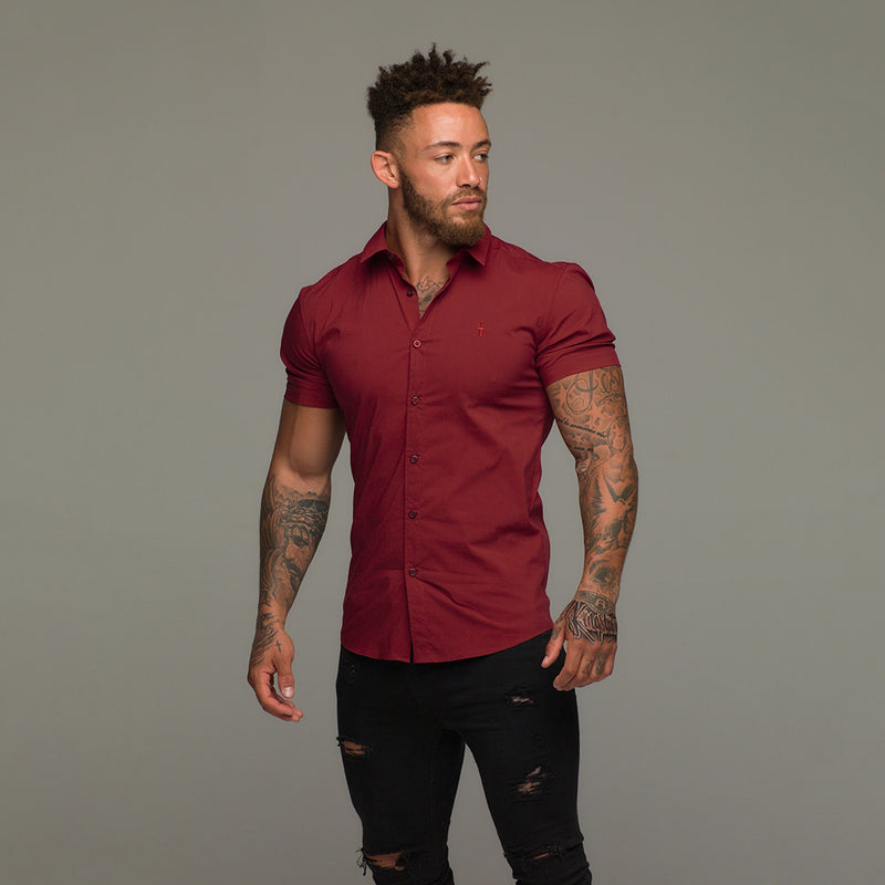 Father Sons Super Slim Stretch Classic Oxblood Red Short Sleeve - FS180 (PRE-ORDER 17TH JULY)
