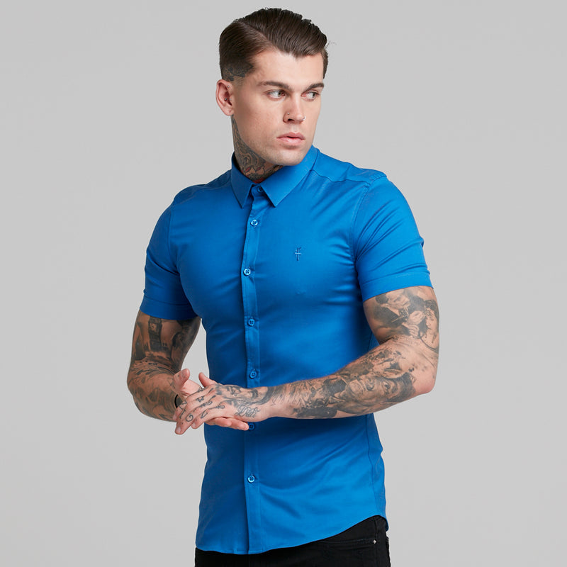 Father Sons Super Slim Luxe Ultra Stretch Mid Blue Short Sleeve -  FS384