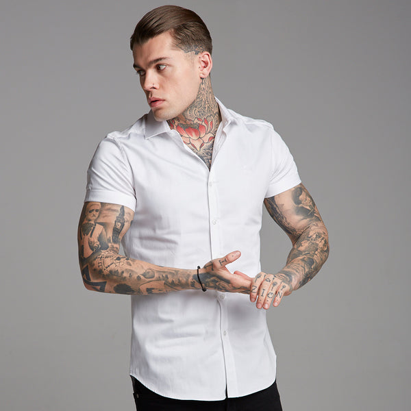 Father Sons Classic White Luxe Egyptian Cotton Short Sleeve - FS379