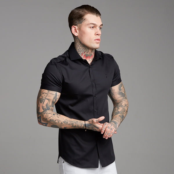 Father Sons Classic Black Luxe Egyptian Cotton Short Sleeve - FS378 (PRE ORDER - 22ND JULY)