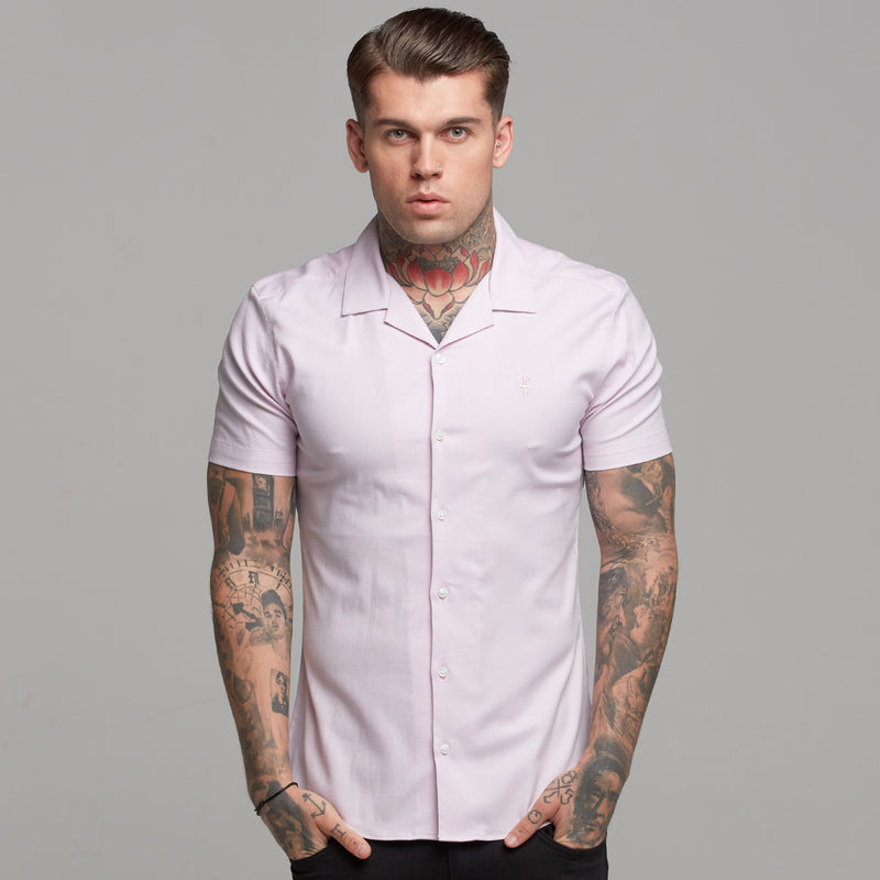 Father Sons Super Slim Stretch Revere Classic Pink Oxford Short Sleeve - FS420
