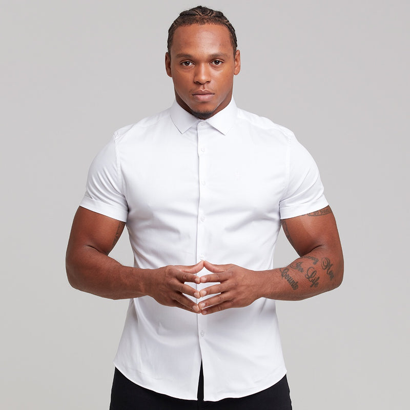 Father Sons Slim Sateen Classic White with White Embroidery - FS395