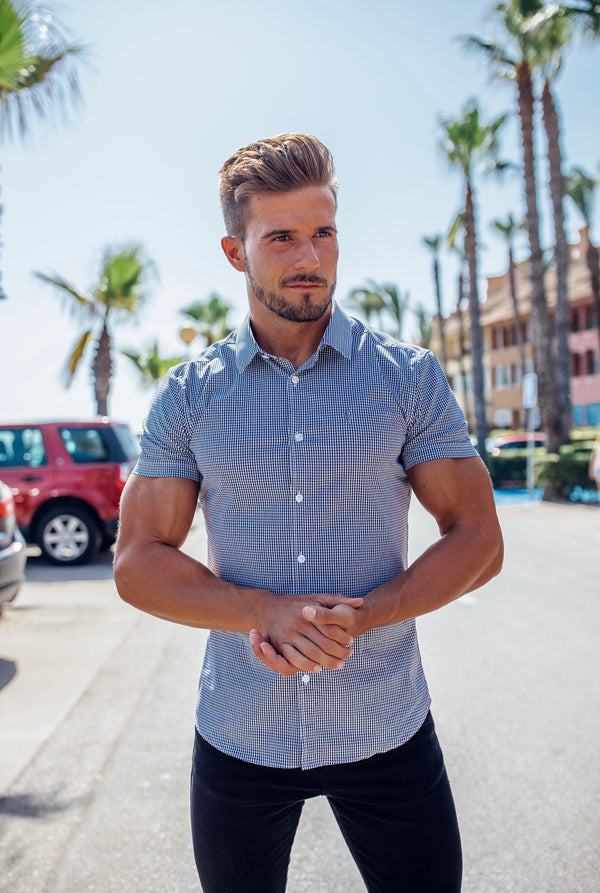 Father Sons Super Slim Stretch Black Gingham Short Sleeve (Grey Emblem) - FS578