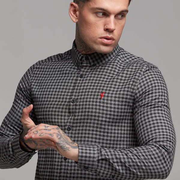 Father Sons Classic Black & Grey Brushed Check Long Sleeve (Red Emblem) - FS410