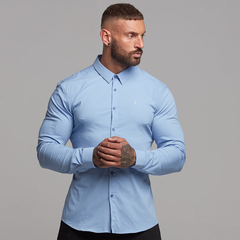 Father Sons Super Slim Stretch Classic Light Blue Panel Shirt - FS319