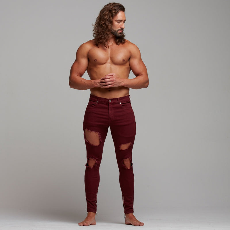 Father Sons Zipped Ankle Slim Stretch Burgundy Ripped Jeans - FSH289
