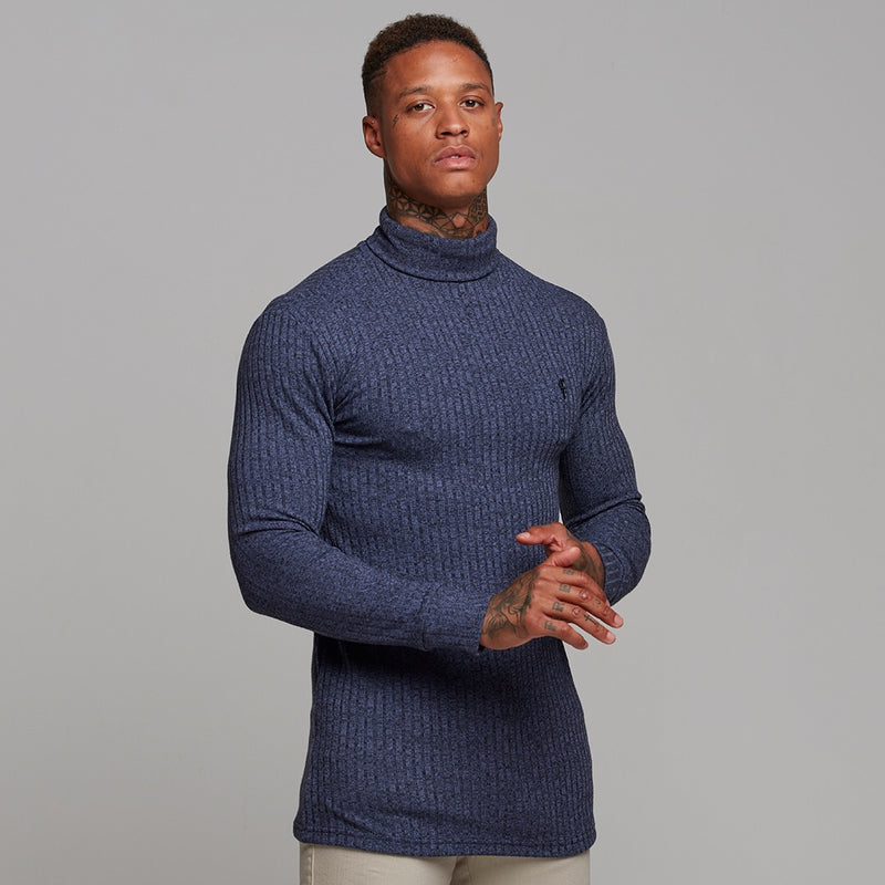 Father Sons Classic Navy Ribbed Knit Roll-neck Jumper - FSH117