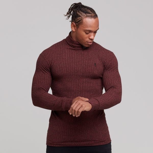 Father Sons Classic Burgundy Ribbed Knit Roll-neck Jumper - FSH116