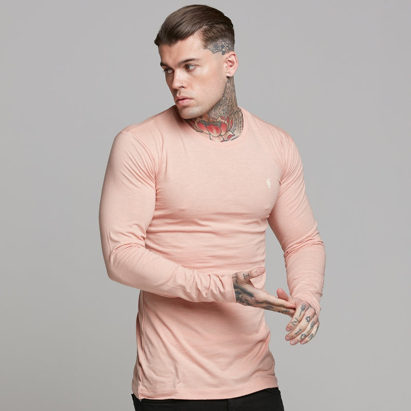 Father Sons Peach Long  Sleeve Slub Crew - FSH325