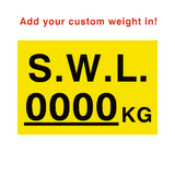 SWL Kg Sign Yellow Custom Weight | PVC Safety Signs | Health and Safety Signs