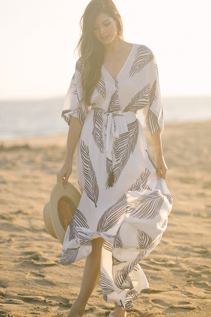Ariella Kimono Sleeve Fern Print Maxi Dress Dresses Aakaa White/Navy Small