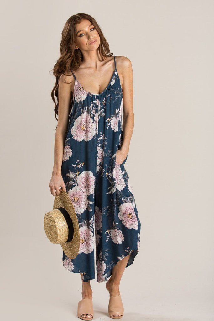 Elina Blue Floral Relaxed Jumpsuit Jumpsuits Millibon Blue Small