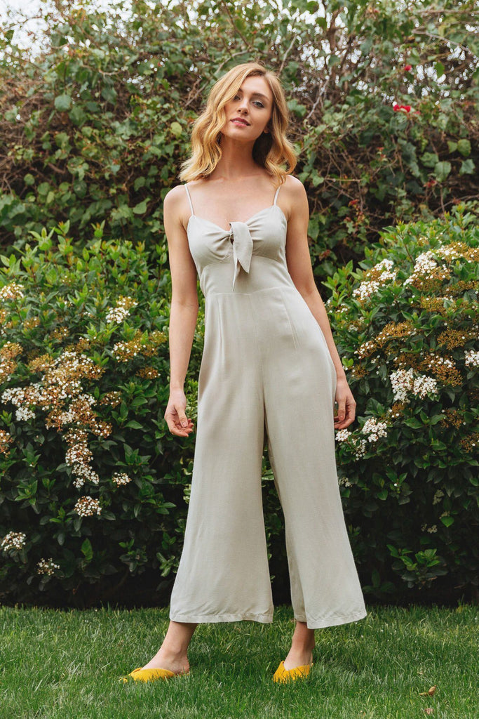Deanna Beige Tie Front Jumpsuit Jumpsuits Everly Beige Small