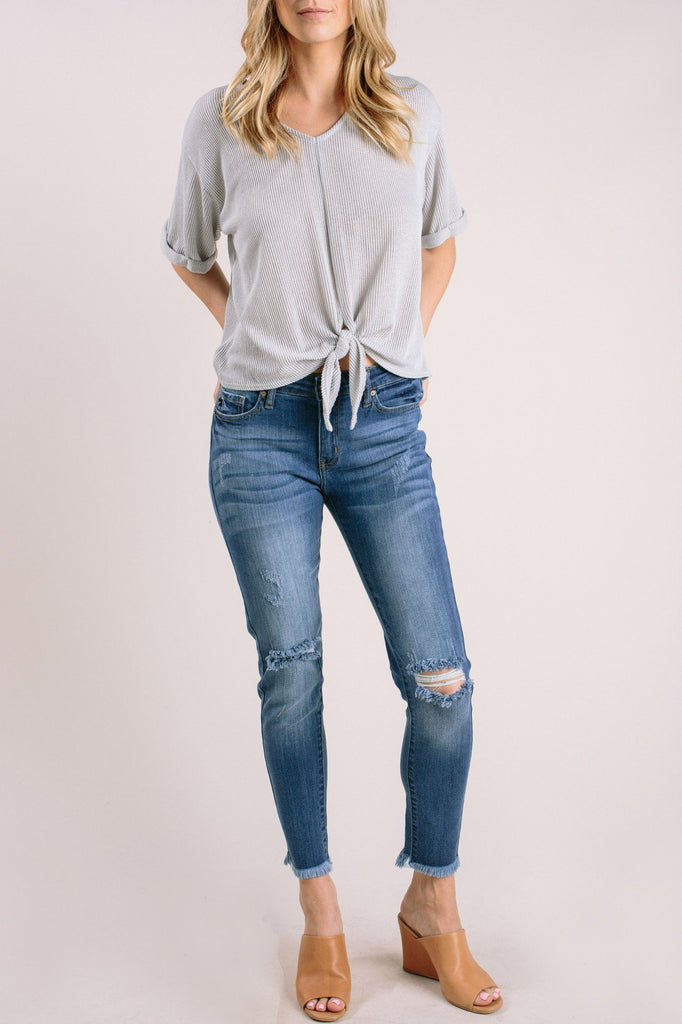 Cleo Distressed Raw Hem Jeans Jeans KanCan