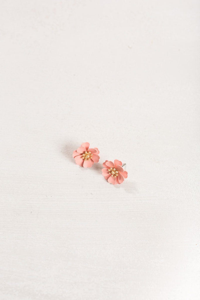 Allie Pink Flower Earrings Earrings Joia Pink