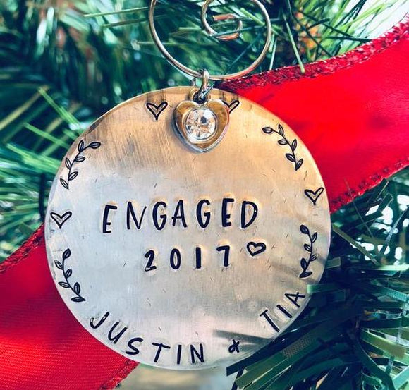 Personalized Engagement Christmas Ornament - Bling Chicks Jewelry Accessories Gifts